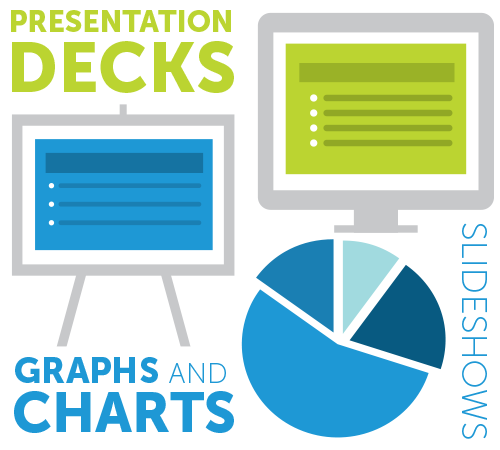 Icons of presentations and charts
